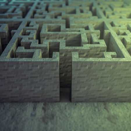 rendered image of an arrow inside a labyrinth Stock Photo