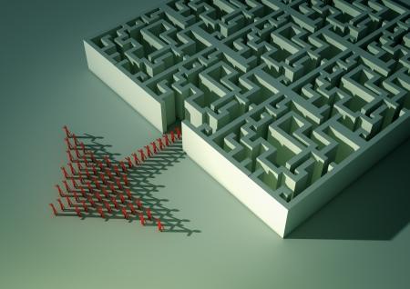 labirinth with arrow made od people Stockfoto