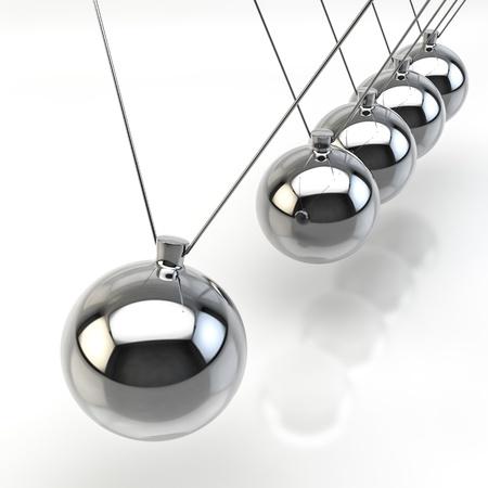 Rendu 3D d'un pendule de Newton sur fond blanc Banque d'images