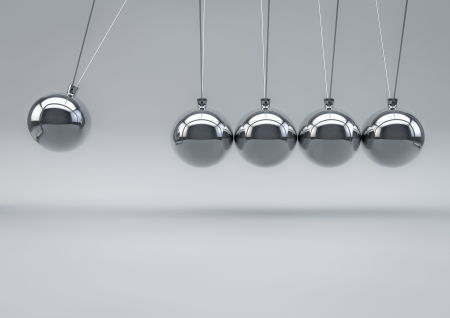 impacts: 3D Render of a Newton Pendulum on white background