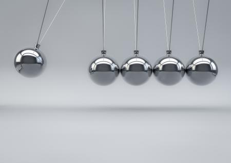 impact: 3D Render of a Newton Pendulum on white background