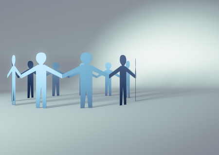 3d render of paper people in a circle
