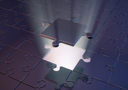 Render of a  jigsaw puzzle with a glowing backlight photo