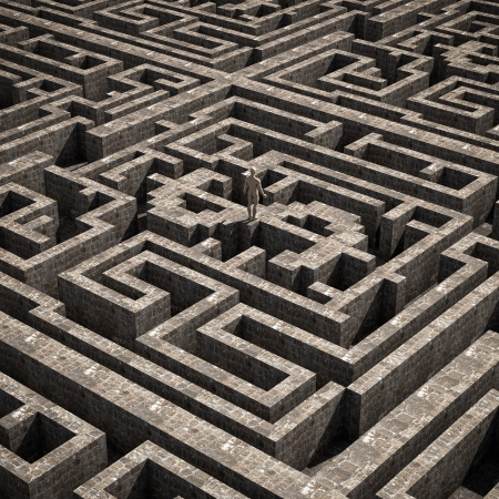 Render of a maze with a dollar shape inside photo