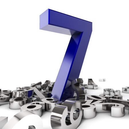 4 7: Render of a  blue number seven