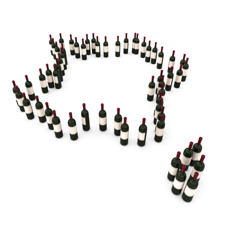 3d illustration de bouteilles de vin autour de la carte France Banque d'images - 27368472