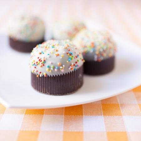 Cupcakes op tartan tafelkleed
