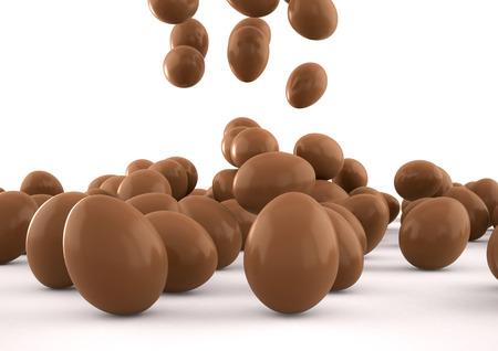 3D-afbeelding van Pasen eieren vallen over een witte achtergrond Stockfoto