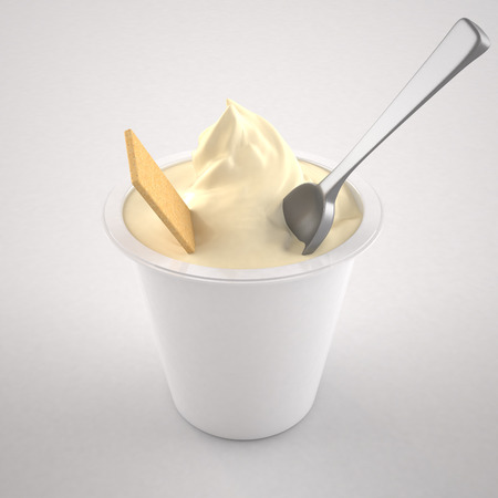 yogurt natural: Yogur aislado en fondo blanco Foto de archivo
