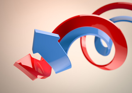 3D-afbeelding van een blauwe en rode pijlen Stockfoto