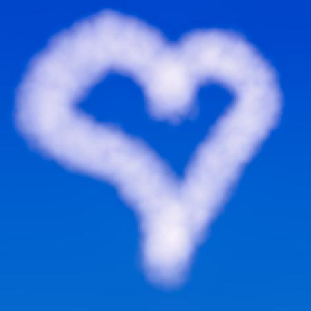 Hart gevormde wolk over een blauwe hemel