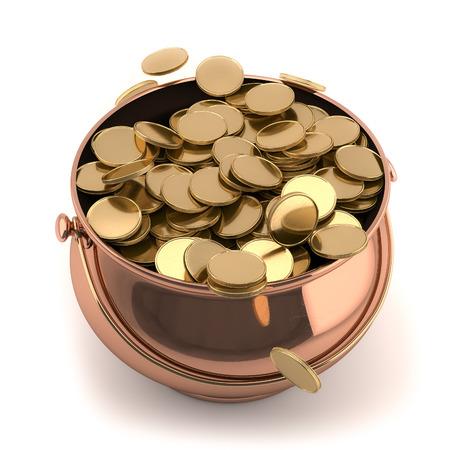 3Dimage van een pot vol gouden munten geïsoleerd op een witte achtergrond Stockfoto