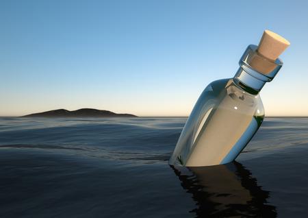 redenring van een Fles in de oceaan