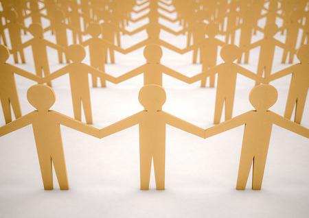 3D-beeld van papier mensen verenigd Stockfoto