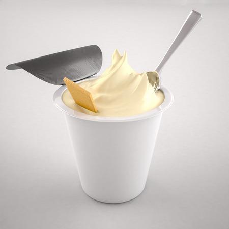 Yoghurt op een witte achtergrond Stockfoto
