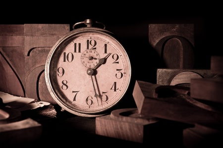 old clock in a printing photo