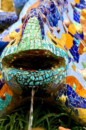 salamandre: L'image montre la fameuse salamandre Antoni Gaudi, le symbole du Parc Guell � Barcelone