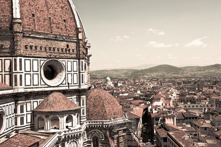 depicts: This image depicts Florence, the chatedral and the hills Stock Photo