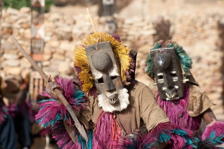 Rabbit mask and the Dogon dance, Mali. This is a rabbit mask. The rabbit is hunted by the Dogon, for food. But the rabbit is fast and often gets away, so in if you want to do the rabbit dance, pretend to run away from a hunter. Stock Photo