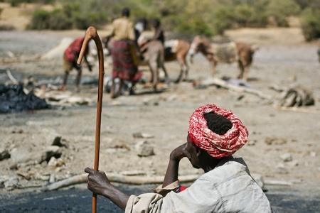 gatherer: Gatherer of salt. El Sod, Ethiopia. Editorial