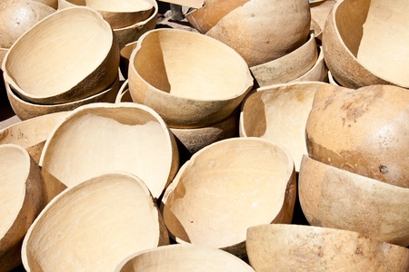 Malian traditional containers made from pumpkin. Used to transport food, water and more. photo