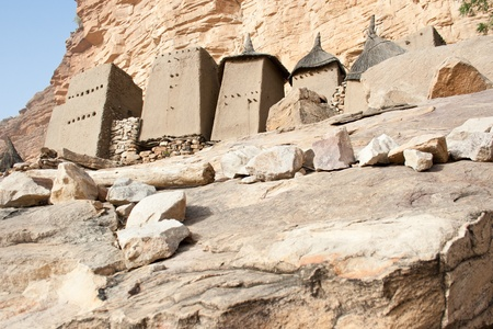 Granaries in a Dogon village, Mali (Africa).The Dogon are best known for their mythology, their mask dances, wooden sculpture and their architecture.