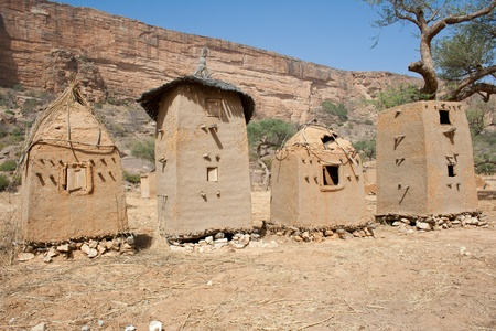Granaries in a Dogon village, Mali (Africa).The Dogon are best known for their mythology, their mask dances, wooden sculpture and their architecture. photo