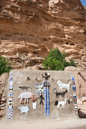 Representation on the wall of animals and Dogon masks, Mali (Africa). photo