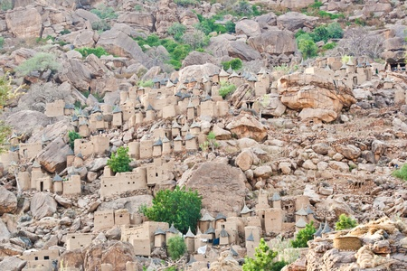 The principal Dogon area is bisected by the Bandiagara Escarpment.