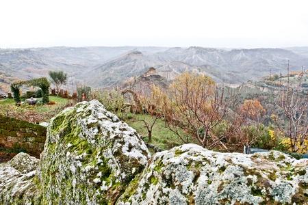 Tekintettel a Badlands Civita di Bagnoregio, Olaszország.