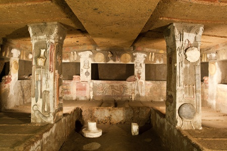 Interior of ancient tomb (Etruscan Necropolis of Cerveteri, Italy)