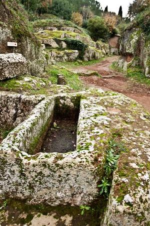 Sarcophagus at the Etruscan necropolis of Cerveteri (Italy) Editorial