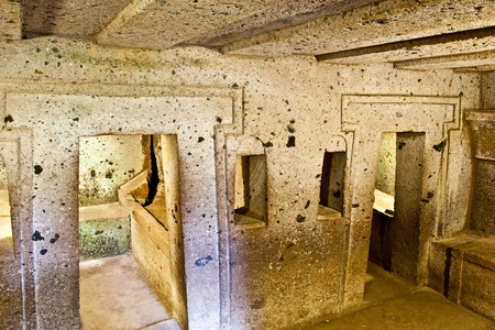 Interior of ancient tomb (Etruscan Necropolis of Cerveteri, Italy)