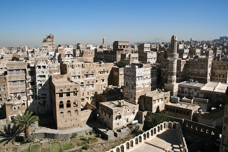 Kilátással a jemeni Sanaa.