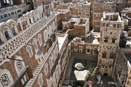 Tipikus jemeni építészet, Sanaa (Jemen).