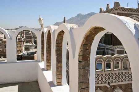Terrace in the city, Sanaa (Yemen).