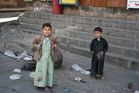 poorness: December 21, 2008 - Sanaa (Yemen), children in the old town. Editorial