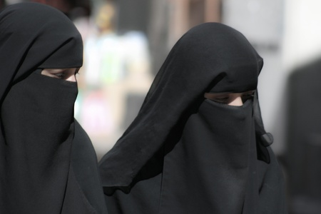 burqa: December 21, 2008 - Sanaa (Yemen), women in a burqa, old town. Editorial
