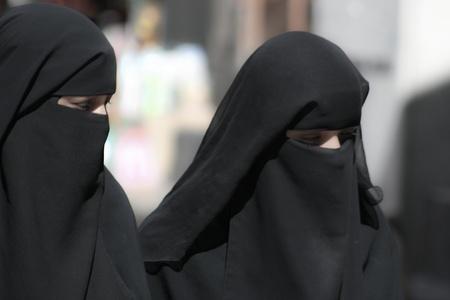 burqa: December 21, 2008 - Sanaa (Yemen), women in a burqa, old town. Editorial