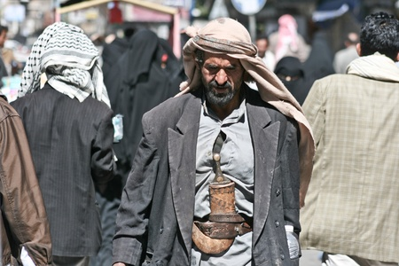 December 21, 2008 - Sanaa (Yemen), man with janbiya in the old town.
