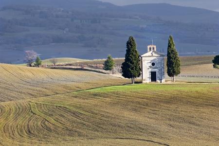val dorcia: Lonely church, Val dOrcia (Italy). Stock Photo