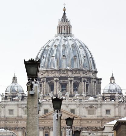 San Peter basilica in winter, Vatican Editorial