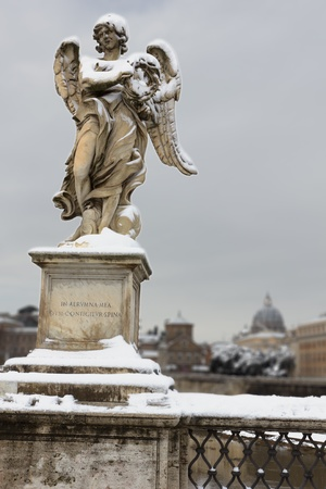 Angel with thorn crown on Sant Angelo Bridge, Rome,Italy