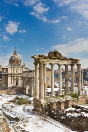 Temple of Saturn and others monument of the Roman Forum, Italy. photo