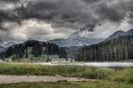 lake misurina: Clouds over lake Misurina, Dolomites, Italy  Stock Photo