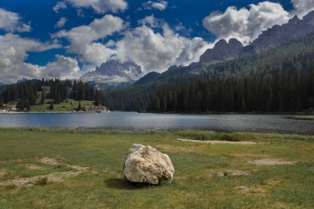 lake misurina: Misurina lake, Dolomites, Italy  Stock Photo