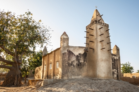Mud brick mosque in the small village of Kalabougu, Mali, Africa
