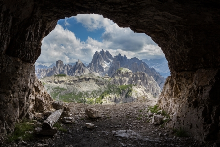 refuge: Panorama from man-made caves, Dolomites, Italy  Stock Photo