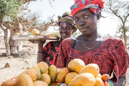DOUENTZA, MALI - január 2, 2010 Nők értékesítési zöldségek és gyümölcsök út mentén az északi Bandiagara meredek, ahol veszi, hogy elérje Timbuktu január 2-án, 2010, Douentza, Mali