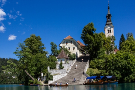 Bled island with its steep staircase, Lake Bled, Slovenia  Editorial